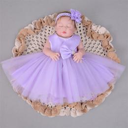 096a55a8d9936 Dropshipping 3-24 M Enfants Robes pour Filles 2018 Bébé Baptême Robe Bow Robe  D été Violet Dentelle 2018 Haute Qualité robe d été bébé violet promotion
