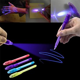 Wholesale invisible ink pen light - Wholesale-2017 NEW Magic Purple 2 In 1 UV Black Light Combo Creative Stationery School Office Drawing Invisible Ink Pen