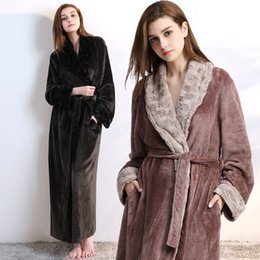 412e6a1851 86 Women Men fur Neck Thick Warm Long Flannel Bathrobe Plus Size Kimono Bath  Robe Winter Peignoir Dressing Gown Bridesmaid Robes