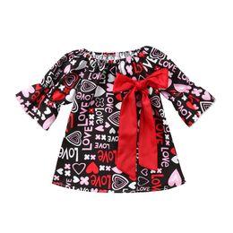 Wholesale Girls Cute Lace Collar Dresses - New Girls Dresses Cute Love Letter Heart Printed Princess Dress Big Red Bowknot Half Sleeve Kids Dress Girl Round Collar Dress