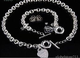 Wholesale Vintage Diamond Bracelets - SALE 2018 New designer jewelry vintage tiffany925 sterling silver gift boxes Set A95 Necklace Bracelet Earrings with box