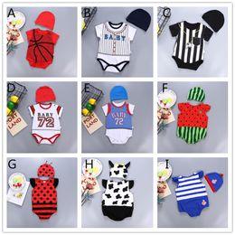 d0f9084e83f0 18 Styles Baby cute cartoon romper 2pcs set hat+sleeveless romper cute  fruits watermelon ladybird bee cow sports suits onesie for 0-1T. Supplier   krtrading
