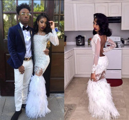 Wholesale Long Dress Ostrich Feather - Sexy African Black Girls Mermaid Prom Dresses 2018 Sexy White Ostrich Feather Party Dress Long Sleeves Backless Lace Long Evening Gowns