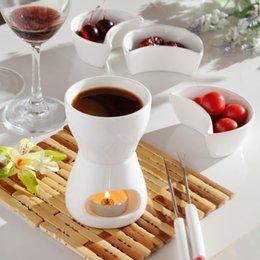 Wholesale free fork - Free Shipping 120 Ml Ceramic Chocolate Fondue Ice Cream Pot Set Cheese Hot Pot Fondue Sets with Fork and Candle Butter Warmers