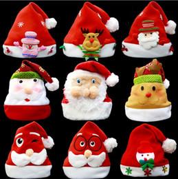 bonés para enfeites de natal Desconto Enfeites de natal decoração chapéus de natal chapéus de santa crianças mulheres homens meninos meninas cap para festa de natal adereços ga543