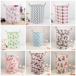 hamper clothes basket Coupons - Folding Dirty Clothes INS Basket High Capacity Cotton Linen Laundry Storage Baskets Printed Washing Hamper Top Quality 12 5kk B