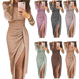 2019 vestido formal de las mujeres tutu 8 colores Mujeres vestidos elegantes cadera cuello abierto vestido brillante vestido de cristal vestido de fiesta ropa rebajas vestido formal de las mujeres tutu
