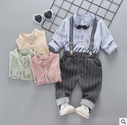 Wholesale New Beard Styles - Spring Toddler kids outfits 2018 new boys beard tie letter printed round collar long sleeve shirt+casual stripe suspender pants 2pcs sets R2