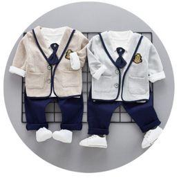 Wholesale Double Bow Ties - Spring Kids outfits preppy style boys Bows tie lapel T-shirt+letter embroidery applique blazers outwear+double pocket jeans 3pcs sets R2009