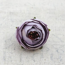 Wholesale Peony Crafts - 50pcs Artificial Tea Rose Bud Small Peony Camellia Flores Flower Head For Wedding Ball Decoration Diy Craft Gifts Fake Flowers