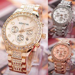 Wholesale Geneva Digital Watches - New Luxury Brand Watch Fashion Casual Stainless Steel Geneva Unisex Watches Gold Silver High Business Crystal Wristwatch with Calendar
