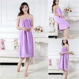 Wholesale Quick Shipping Dress - Free Shipping High Quality Lady Wearable bath towel Spa Skirt with Flower thickening dry super absorbent quick-drying Shower Dress Towel