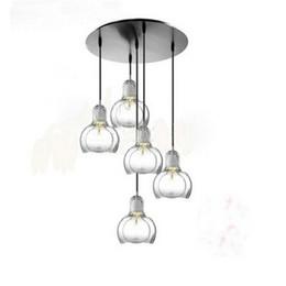 Vintage deckenleuchte glas online-Glasdecke Anhänger Vintage-Stil und Retro-Kronleuchter Industrial Light Bulb Lamp