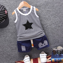 Wholesale toddler vests - Fashion Children Boys Girls Summer Clothing Suits Baby Vest Shorts 2Pcs Kids Embroidery Star Clothes Toddler Tracksuits