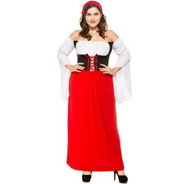 Wholesale Sexy Beer Dresses - Fashion New Beer Festival Cosplay Red Maid Fancy Dresses for Women Sexy Halloween Party And Festival how