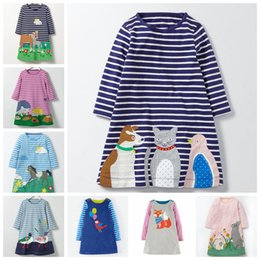 Wholesale Light Blue Dresses Straight - 8 styles autumn spring kids girls cute cartoon applique cute animal embroidery long sleeve dress clothes