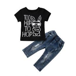 Мальчики джинсы t рубашки брюки онлайн-New Kids Baby Boys Girl Hip Cartoon Leer Top T-Shirt Clothes Long Denim Jeans Pants Casual 2Pcs 6M-4T