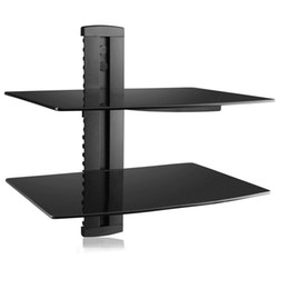 Wholesale Dvd Accessories - CS202 Strengthened Tempered Glass Two-tier Floating Shelf for DVD Players Cable Boxes Games Consoles TV Accessories