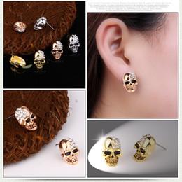 Argentina Pendientes divertidos Punk Fashion Rose Gold Silver Tone Crystal Diamond Skull Piercing Ear Stud Pendientes Joyería Vintage Regalos de Halloween al por mayor Suministro