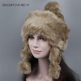 Wholesale Acrylic Balaclava - Wholesale- Winter Hat Bomber Hats for Women Thicken Balaclava Cotton Faux Fur Winter Earflap Keep Warm Caps Russian Skull Mask Bomber Hats