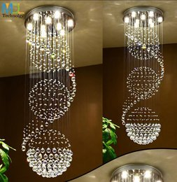 simple round crystal lighting Promo Codes - Modern LED Crystal Chandeliers Lights Ceiling Indoor light Hanging Suspension Fixtures Luminaire Simple Staircase Light Round Hall Villa