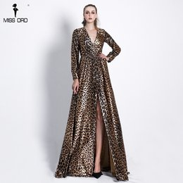 Missord 2018 Sexy Deep V Long Sleeve High Split Leopard Print Dresses  Female Cross Maxi Elegant Dress Vestdios FT18642 leopard print maxi dress  sleeves for ... cb0fb9639