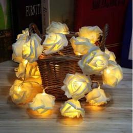 Wholesale Rose Fairy String Lights - New Arrivals 20 LED Rose Flower Fairy String Lights Lamps Home Party Decor Wedding Decorations Christmas Decoration CCA9171 20pcs