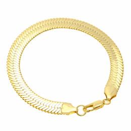 2019 мужские браслеты из цельного золота 1cm Flat Snake Bone Chain Bangles & Bracelets Fashion Solid Gold Bracelet Mens Hip Hop Rock Jewelry Accessories Gifts дешево мужские браслеты из цельного золота