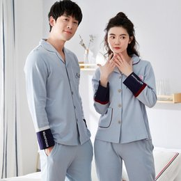 1c3205f032 2018 Pure Cotton Couples Pajamas Sets Women s Long Sleeves Long Pants  Sleepwear Men s Pajamas XXXL
