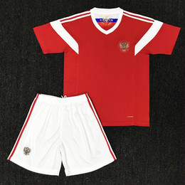 Wholesale Russian Suit - 2018 world cup Russia Kids Soccer Jerseys 2018 world cup Russian Home red Football uniform Thai Quality #10 DZAGOEV #11 SMOLOV Kids suit