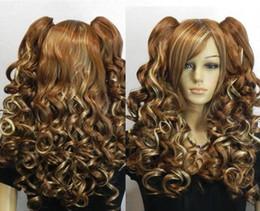 Новый коричневый микс блондин клип на 2 хвостики вьющиеся косплей женские парики волос от