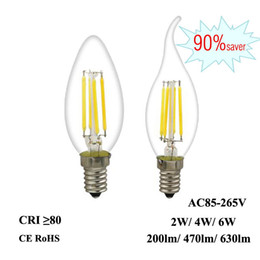 candle light fixture chandelier Promo Codes - LED Filament Bulb E12 E14 2W 4W 6W Edison Candle Light 110V 220V 240V C35 360°Clear Glass Lamp for Crystal Pendant Chandelier Fixture