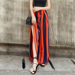 4b9c5ee82ff9 Fashion Loose Chiffon Summer Long Wide Leg Bohemian Split Trousers High  Waist Striped Casual Sexy Pants