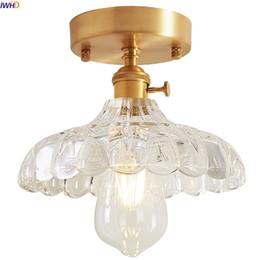 2019 plafones de cobre IWHD Nordic Glass Cobre LED Luz de Techo de la Cocina Balcón Edison Lámpara de Techo Vintage Plafondlamp Lamparas De Techo rebajas plafones de cobre