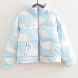 Atacado-Inverno Mulheres Sweet College Vento Céu Azul Nuvens Brancas Casaco Grosso Inverno Quente Algodão Outerwear Jacket de