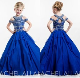 Wholesale Toddlers Pageant - 2018 Vintage Off Shoulder Toddlers Girls Pageant Dresses Glitz Halter Crystal Backless Birthday Puffy Princess Ball Gown Flower Girl Gown