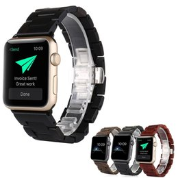 Wholesale Natural Wooden Boxes - Natural Wood Watch Band Sandalwood Wrist Wooden Strap For Apple Iwatch 42MM With Adaptor Retail Box