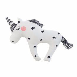 Wholesale Horse Massages - Cute Horse Unicorn Baby Sleep Pillow Black White Stripe Lovely Child Kids Pony Plush Toy Lumbar Cushion Princess Animals Doll-30