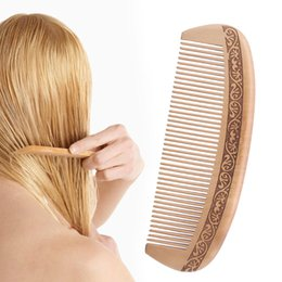Wholesale Healthy Natural Hair - Fashion Natural Wide Tooth Peach Wood Comb Healthy No-static Massage Hair Wooden Comb Chinese Traditional Haircut Tool New