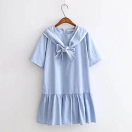 2019 милые платья японцы Японский летний носовой узел Новый 2018 Белое и синее полосатое платье Симпатичные лолиты Хараджуку Шарики, вышитые платьем Kawaii LYQ610 дешево милые платья японцы