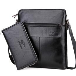 2018 Hombres 2 Set Bolso de Cuero de Hombro Del Hombre Messenger Bag Designer Casual Male Crossbody Negocio Para ipad Maletín desde fabricantes