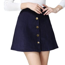 Wholesale Corduroy Mini Skirt - 2017 Autumn vintage fashion corduroy high waist sexy mini skirt winter short a line skirts black gray casual skirts A802