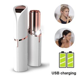Wholesale female shavers - Mini Female Epilator Hair Removal Razor Body Facial Electric Rechargerable Epilator Lipstick Shape Shaving Tool Shaver Lady Hair Remover