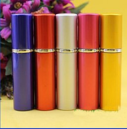 Wholesale Bottles Bulk Wholesale - 2018 5ml Perfume Bottle Colorful Smooth Aluminium Refillable Perfume Atomizer Travel Bottles Fragrance Glass Spray Bottles Home Fragrances