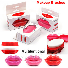 Wholesale wholesale bath brushes sponges - 2018 Sexy Lip Shape Makeup Brushes Foundation Brush Bath Brush Skin Clean Face Care massage Brush Facial Cleaning Multi functional Brushes