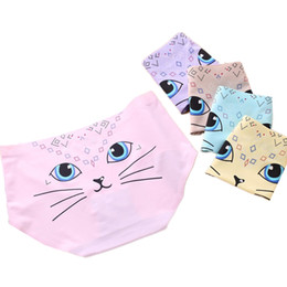 Discount girls underpants - Cute Cat Print Panties Women Underwear Invisible High Waist Female Sexy Underpants Knickers Girls Lingerie Ladies Briefs noFB23