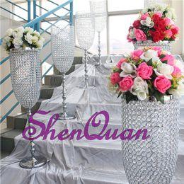 Argentina Fábrica al por mayor soporte de flores decorativas para centros de mesa de la boda, centros de mesa de boda estrella de vidrio florero de cristal Suministro