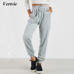 Wholesale Xl Womens Jogging Suits - Vertvie Womens Running Pants Loose Breathable Elastic Waist Full Jogging Sports Trousers For Woman Sport Suit Athis Yoga Pants