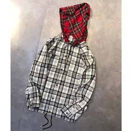 Wholesale Women Xl Flannel Shirt - SEEING THING Plaid Shirts Fashion Black And Red Plaid Men Women Couple Long Shirts Hip Hop Highstreet HFLSCS003