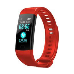 Wholesale color red activities - Y5 Smart Bracelet Wristband Fitness Tracker Color Screen Heart Rate Sleep Pedometer Sport Waterproof Activity Tracker for iPhone Samsung Hot